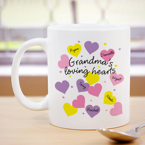 Loving Hearts Personalized Coffee Mug | Personalized Grandma Gifts