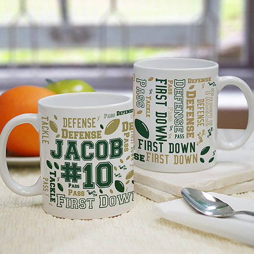 Personalized Football Word-Art Mug | Dad Mugs
