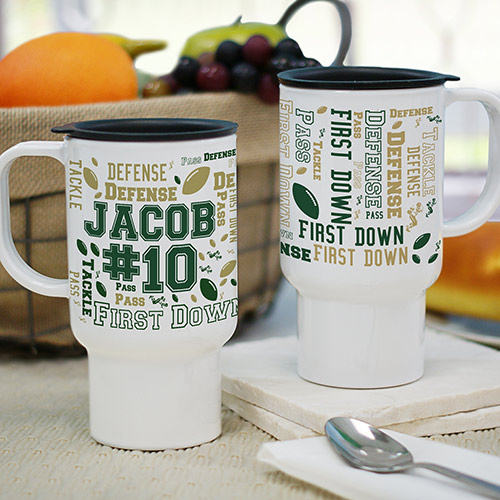 Personalized Football Word-Art Travel Mug