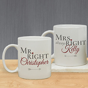 Personalized Mr. Right and Mrs. Always Right Mug | Personalized Wedding Gifts for the Couple