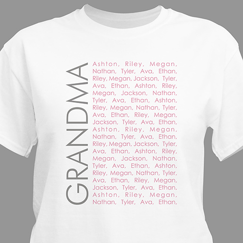 Personalized Repeating Name T-Shirt | Personalized Grandma Shirts