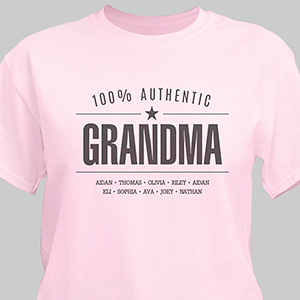 Personalized 100% Authentic T-shirt for her | Personalized Grandma Shirts