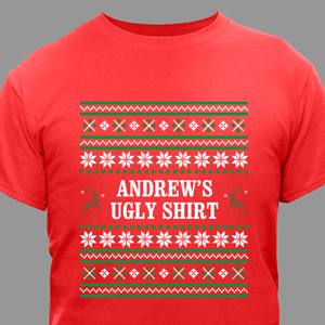 Personalized Ugly Sweater Adult T-shirt | Personalized Christmas T-Shirt