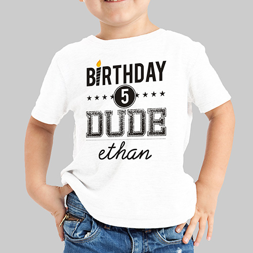 Personalized Birthday Dude Youth T-Shirt | Custom Kids T Shirt