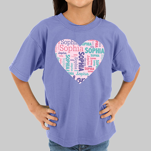 Personalized Heart Word-Art Youth T-shirt | Personalized Kids T Shirt