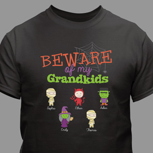Personalized Beware of My Grandkids T-Shirt | Personalized Halloween Shirts