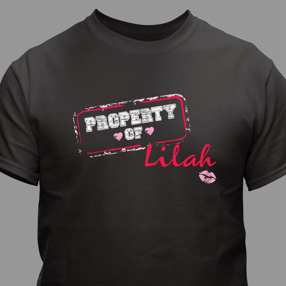 Personalized Property Of Black T-Shirt | Personalized Valentines Shirt