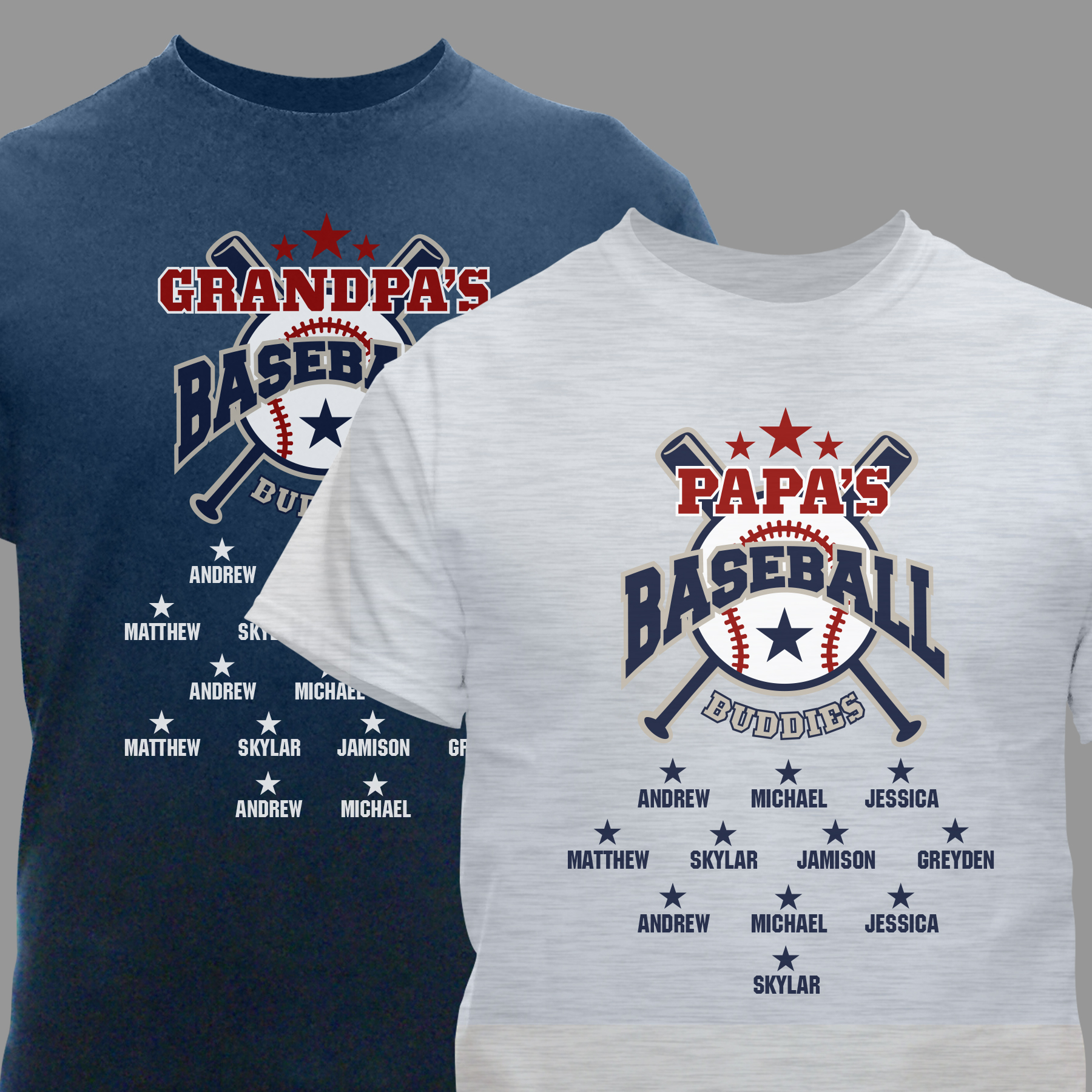Personalized Baseball Buddies T-Shirt | Personalized Father's Day TShirts