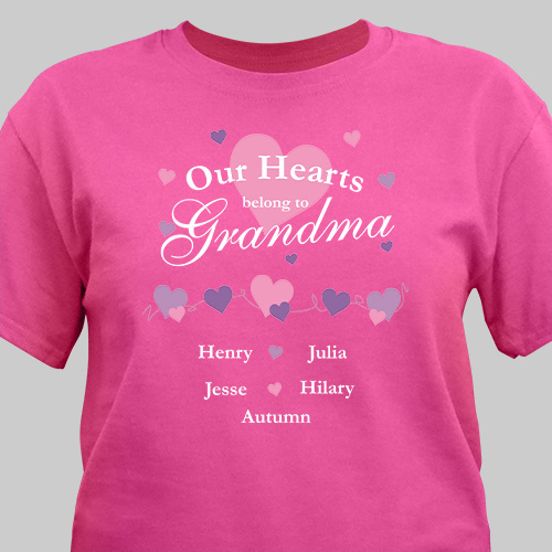 Personalized Our Hearts Belong To T-Shirt | Personalized Grandma Shirts