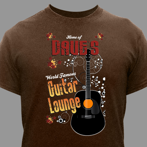 Guitar Lounge Personalized Brown T-shirt | Personalized T-shirts