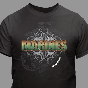 Marines Personalized Black T-shirt | Personalized T-shirts