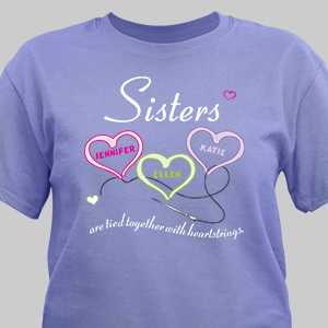 Personalized Sisters Heartstrings Violet T-Shirt | Personalized T-shirts
