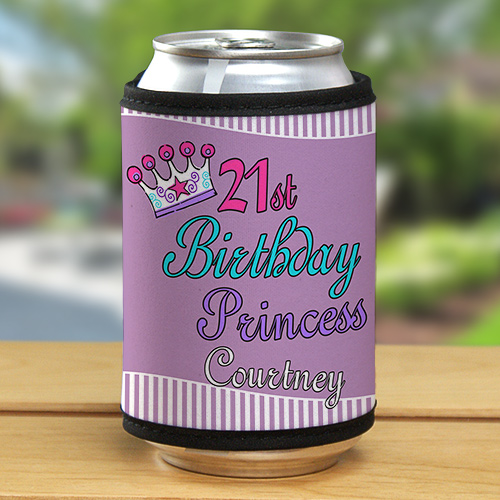 Personalized 21st Birthday Princess Can Wrap Koozie 339709