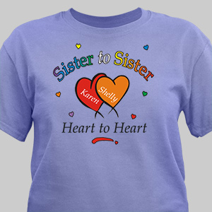 Heart to Heart Sisters T-shirt | Personalized T-shirts