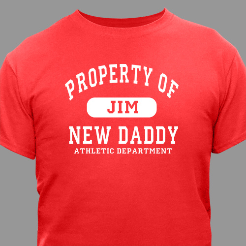 Personalized Property of New Dad Athletic Dept. T-Shirt | Gifts for New Dads