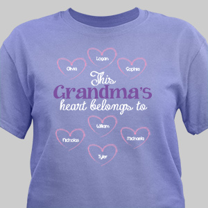 Personalized Heart Belongs To T-Shirt | Grandma Shirts