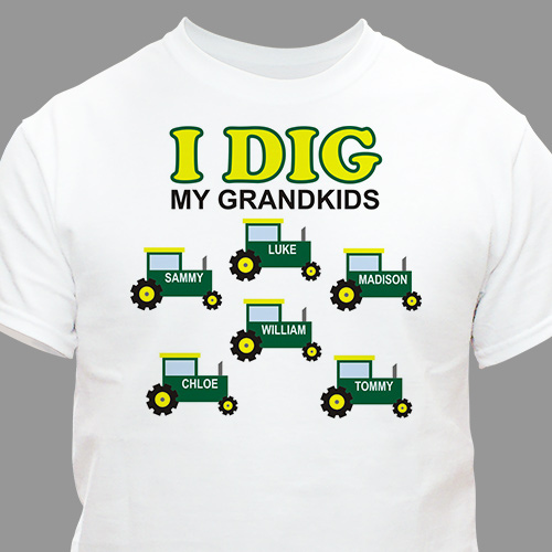 Personalized I Dig My Kids T-Shirt | Grandpa Gifts