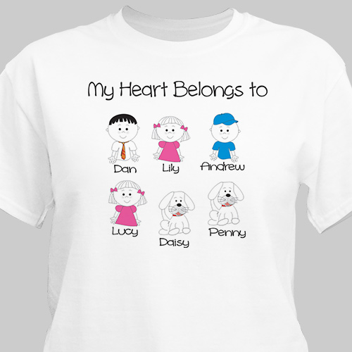 Personalized My Heart Belongs to Family T-Shirt 35939x