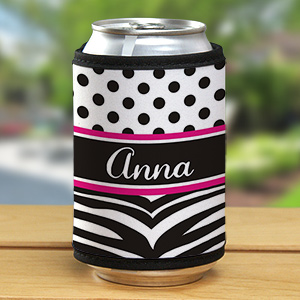 Personalized Zebra Print Can Koozie 359439