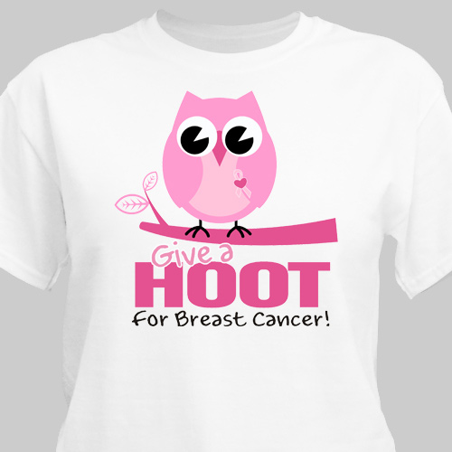 Give a Hoot Breast Cancer Awareness T-Shirt | Personalized T-shirts