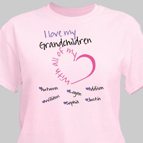 Personalized With All My Heart T-Shirt | Personalized Grandma Shirts