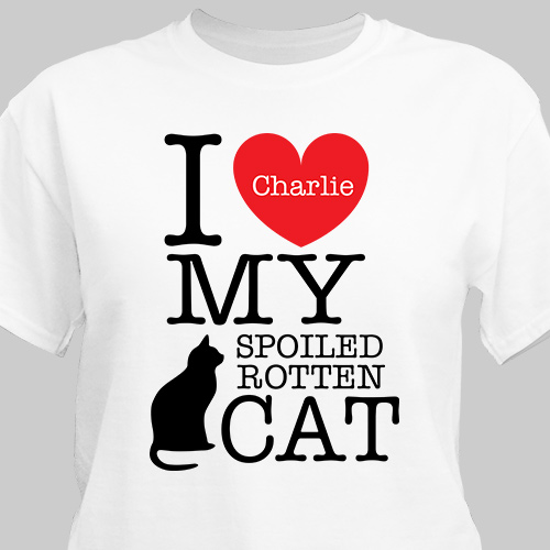 Personalized I Love My Spoiled Cat T-Shirt | Personalized T-shirts