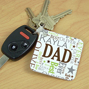 Personalized Dad Word-Art Key Chain | Personalized Dad Accessories