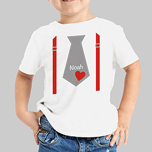 Valentine's Day Personalized Tie Youth T-Shirt