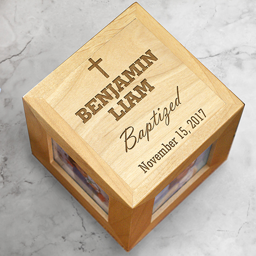 Engraved Baby Baptism Photo Cube | Engraved Baptism Photo Cube