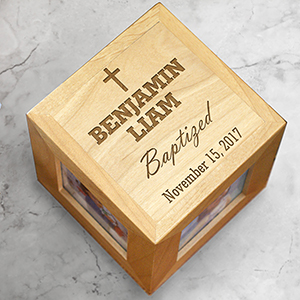 Engraved Baby Baptism Photo Cube | Baptismal Gifts