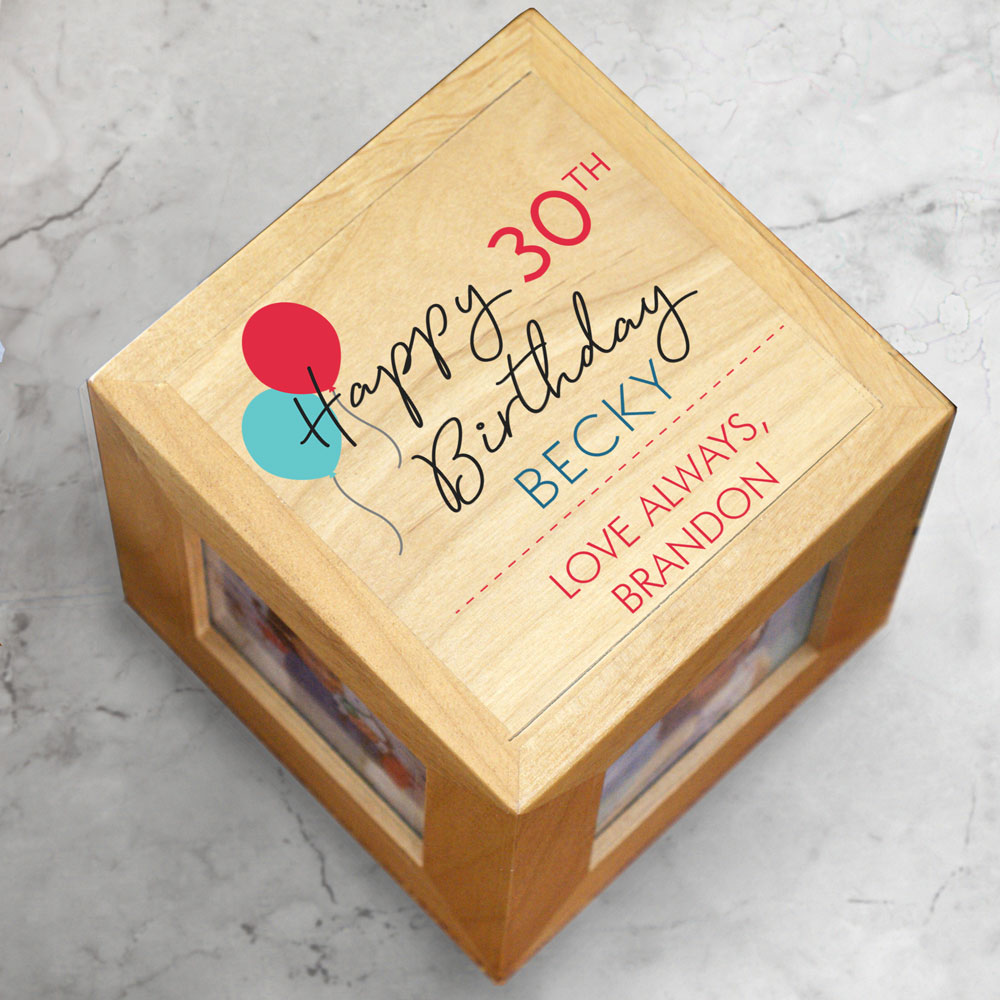 Personalized Happy Birthday Photo Cube | Personalized Photo Frames