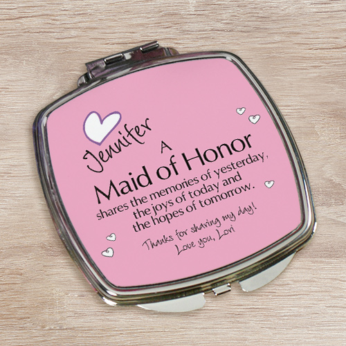 Memories Personalized Compact Mirror | Personalized Bridesmaid Accessories