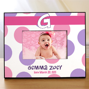 Personalized New Baby Polka Dot Printed Frame 439870G