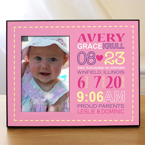 Personalized Girl Birth Announcement Printed Frame | Personalized Newborn Baby Gifts