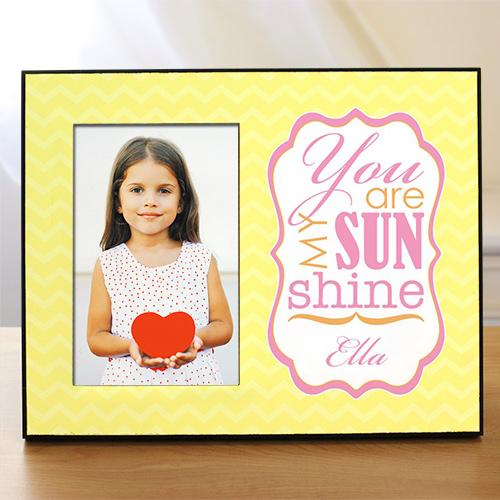Personalized You Are My Sunshine Printed Frame | Personalized Picture Frames For Girls
