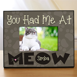 Personalized Had Me At Meow Printed Frame | Personalized Picture Frames