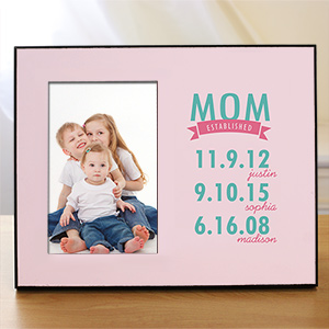 Engraved Mom Established Printed Frame | Personalized Picture Frame