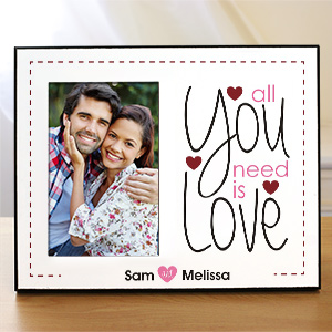 Personalized All You Need Is Love Printed Frame | Personalized Picture Frames