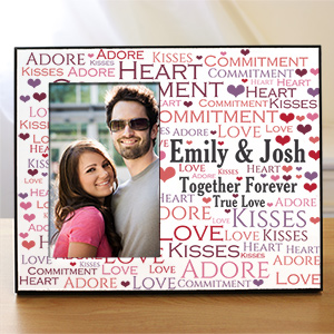 Personalized Loving Couple Word-Art Printed Frame | Personalized Valentines Frames