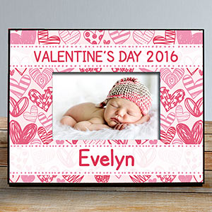 Personalized Pink Hearts Kids Photo Frame