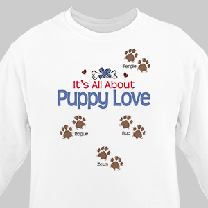 It's All About Puppy Love Personalized Pet Sweatshirt | Personalized Sweatshirts