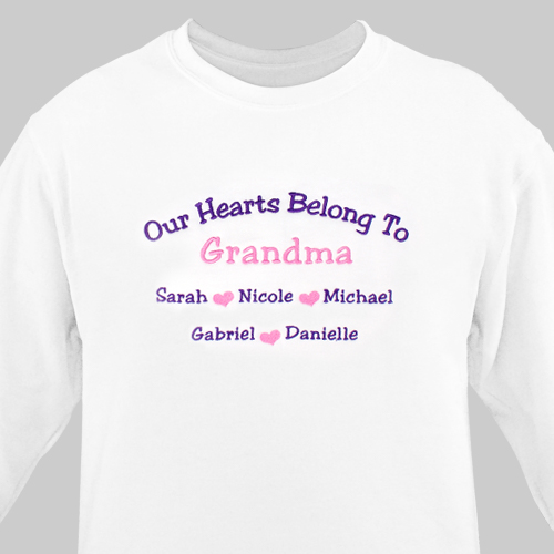 Embroidered Our Hearts Sweatshirt | Personalized Grandma Shirts