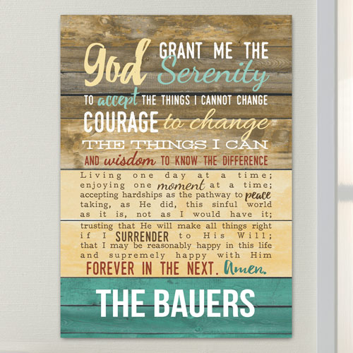 Serenity Prayer Wall Sign | Personalized Religious Wall Art