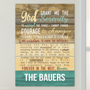 Personalized Serenity Prayer Wall Sign | Personalized Religious Wall Art