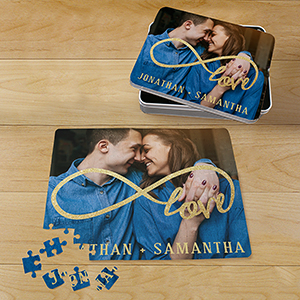 Personalized Infinity Photo Puzzle with Tin | Romantic Home