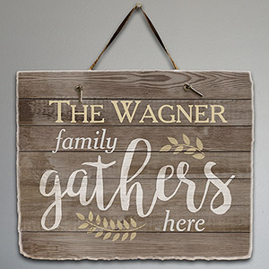 Personalized Family Gathers Here Slate Plaque | Personalized Housewarming Gifts