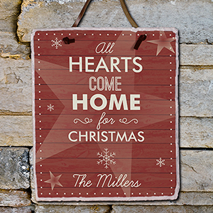 Personalized Heartss Come Home Slate Plaque | Personalized Christmas Decor