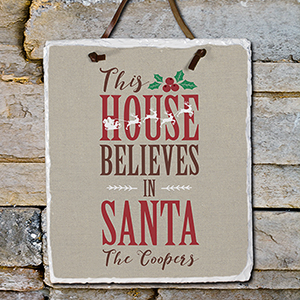 Personalized Believe In Santa Slate Plaque