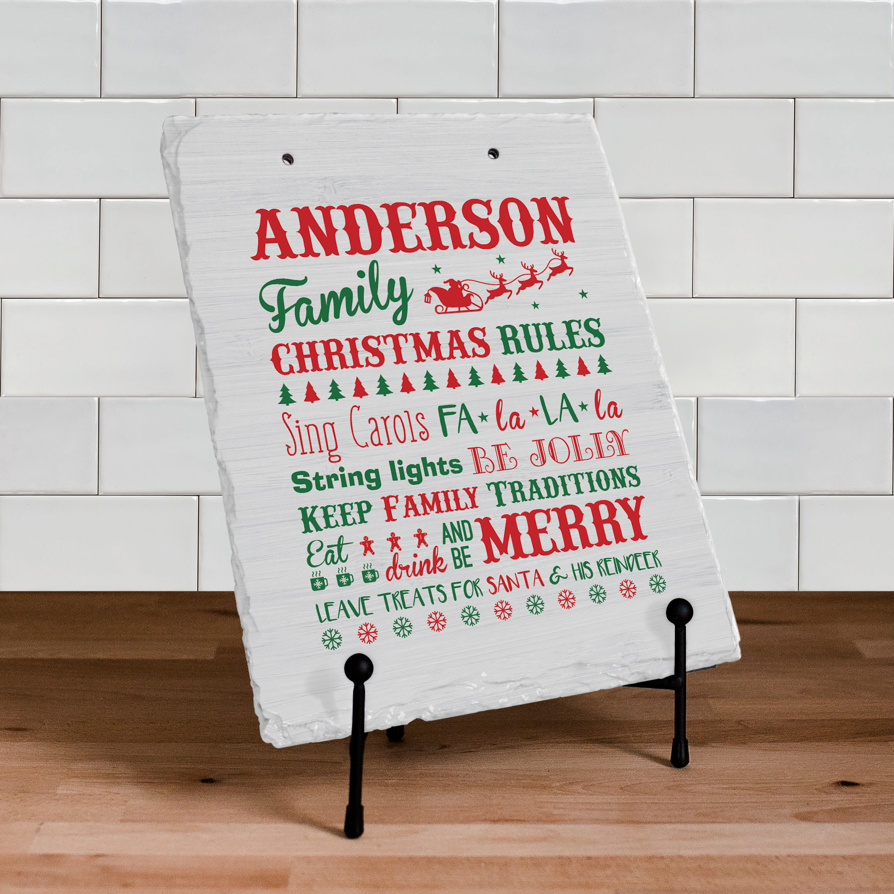 Personalized Christams Family Rules Doormat | Personalized Wall Sign For Christmas