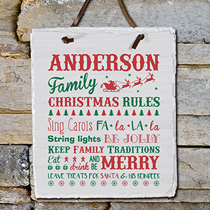 Personalized Christmas Family Rules Slate Plaque